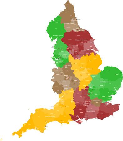 prov�ncia: Um mapa grande, detalhada e colorida da Inglaterra com todos os munic
