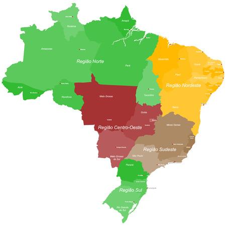 ブラジルのすべての地域および主要都市と大規模で詳細地図表示  イラスト・ベクター素材