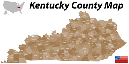 A large, detailed map of the State of Kentucky with all counties and big cities  Vector