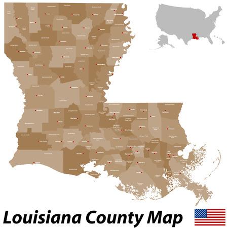 すべての教区と大都市ルイジアナ州の大規模で詳細な地図