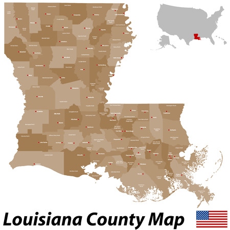 A large, detailed map of the State of Louisiana with all parishes and big cities