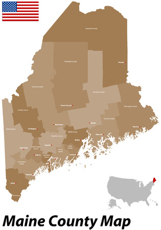auburn: A large, detailed map of the State of Maine with all parishes and big cities  Illustration