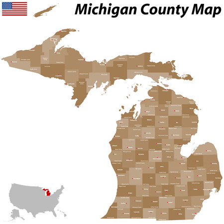A large and detailed map of the State of Michigan with all counties and main cities Illustration
