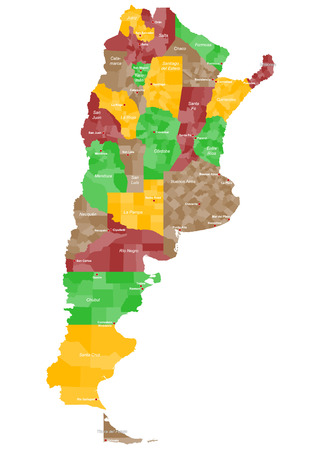 political division: A large and detailed map of Argentina with all provinces and main cities