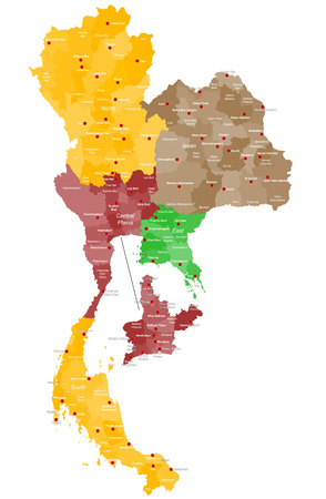 Detailed map of Thailand