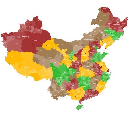 主要な都市および地域で中国の詳細地図