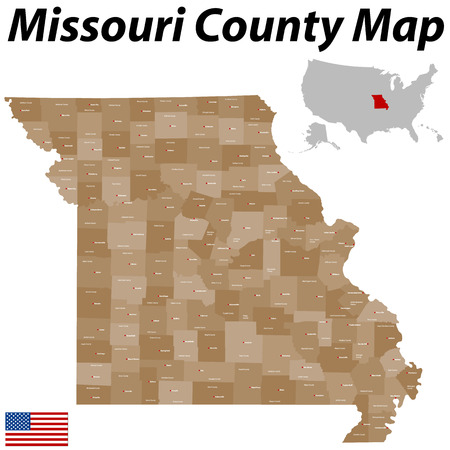 charles county: A large and detailed map of the State of Missouri with all counties and main cities. Illustration