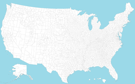 A large and detailed map of the USA with all regions, main cities and islands. Vector