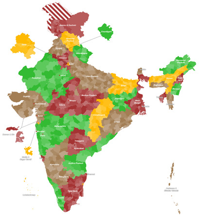 A large and detailed map of India with all regions, main cities and islands. Vector
