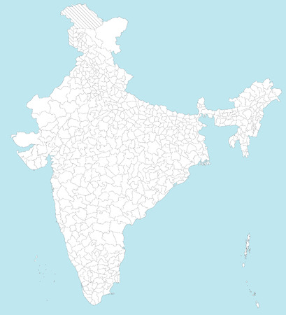 모든 지역, 주요 도시와 섬과 인도의 크고 상세한지도.