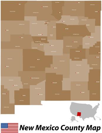 Une grande carte et détaillé de l'État du Nouveau-Mexique avec tous les comtés et les villes principales. Banque d'images - 33557807