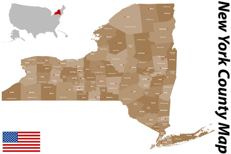 island: A large and detailed map of the State of New York with all counties and main cities.