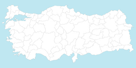 A large and detailed map of Turkey with all regions, main cities and islands. Banco de Imagens - 33590379