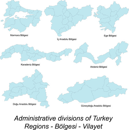 Detailed maps of Turkey regions Vector