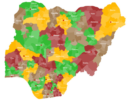 local government: A large and detailed map of Nigeria with all local government areas and cities.