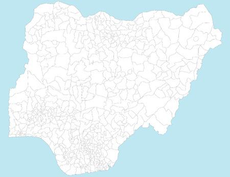 Duże i szczegółowej mapie Nigerii wszystkich lokalnych obszarów rządowych i miast. Ilustracje wektorowe