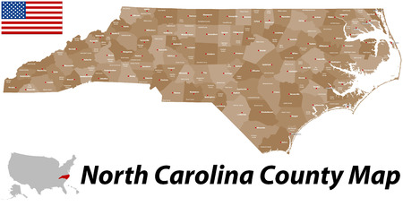 cary: A large and detailed map of the State of North Carolina with all counties and main cities. Illustration