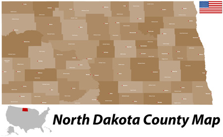 horace: A large and detailed map of the State of North Dakota with all counties and main cities.