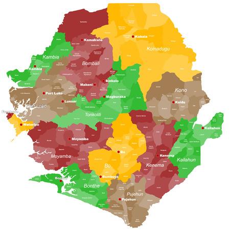 すべてのエリア、chiefdoms、主要都市でシエラレオネの大規模かつ詳細な地図。