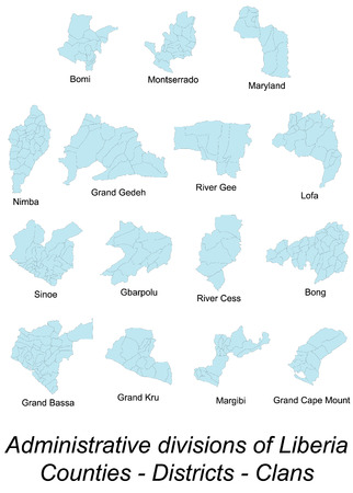 gee: Large and detailed maps of all local counties, districts and clans of Liberia.