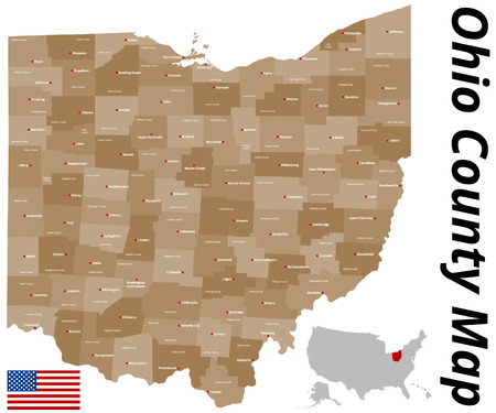 A large and detailed map of the State of Ohio with all counties and county seats