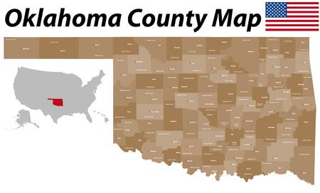オクラホマ州の郡およびすべての郡席の大規模かつ詳細な地図  イラスト・ベクター素材