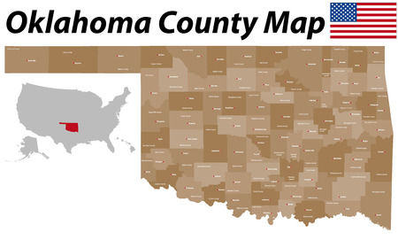 A large and detailed map of the State of Oklahoma counties and county seats with all Vettoriali