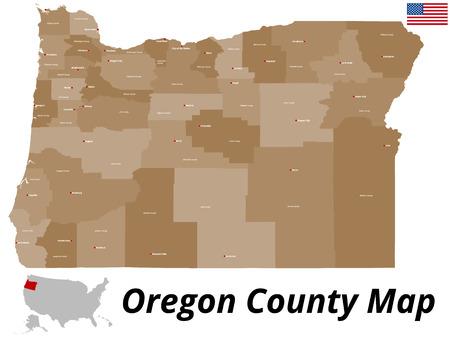 Een grote en gedetailleerde kaart van de Staat van Oregon met alle provincies en provinciehoofdsteden. Stock Illustratie