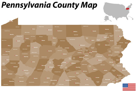 chester: A large and detailed map of the State of Pennsylvania with all counties and county seats.
