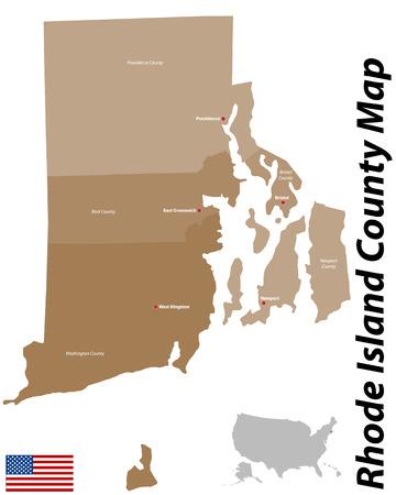 Een grote en gedetailleerde kaart van de staat Rhode Island met alle provincies en provinciestoelen.