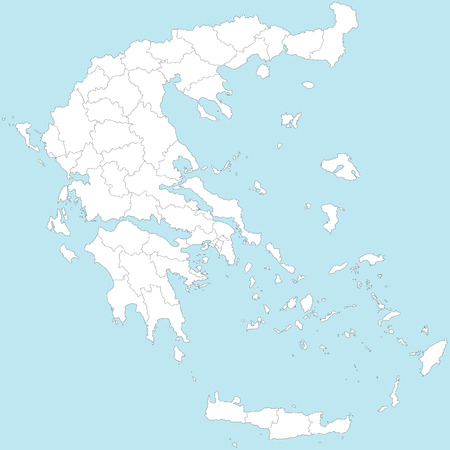 political division: A large and detailed map of Greece with all regions, provinces and islands