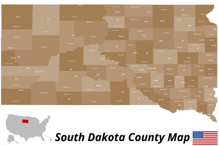 sioux: A large and detailed map of the State of South Dakota with all counties and county seats.