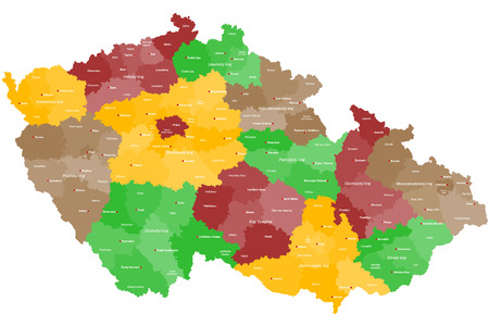 must: A large and detailed map of Czech Republic with all areas, chiefdoms and cities.