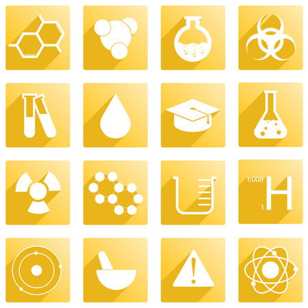 Set of 16 icons around chemistry Illustration