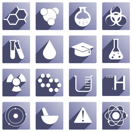 benzene: Set of 16 icons around chemistry Illustration