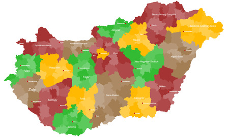 vas: A large and detailed map of Hungary with all counties, regions and cities.