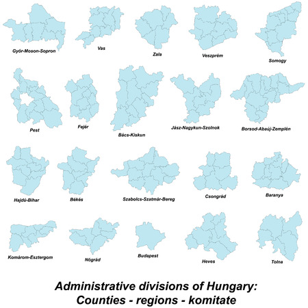 regions: Large and detailed map of regions of Hungary