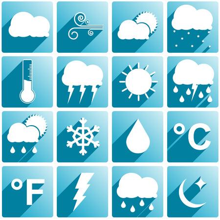 typhoon: Set if 16 different weather icons Illustration