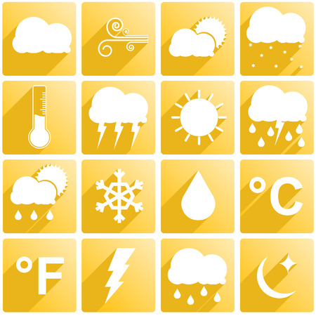 cold war: Set if 16 different weather icons Illustration