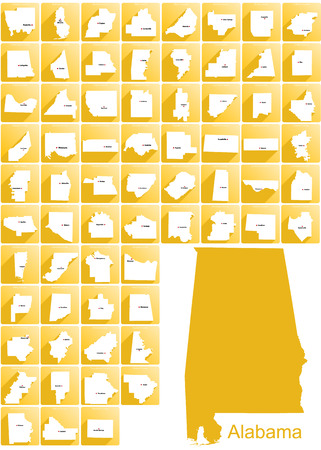 auburn: Set of icons of all counties and county seats of the State of Alabama. Illustration