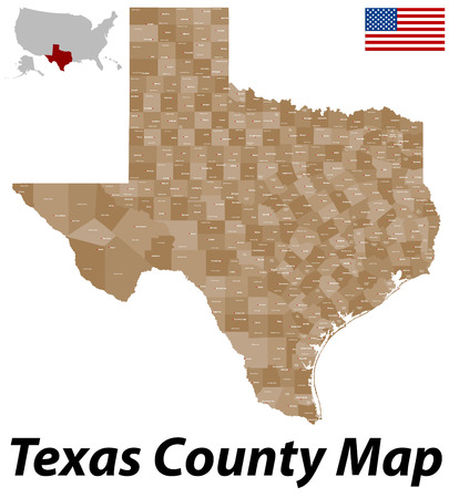 A large and detailed map of the State of Texas counties and county seats with all.