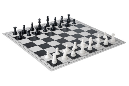 chessmen: A chess game with chessmen on it.