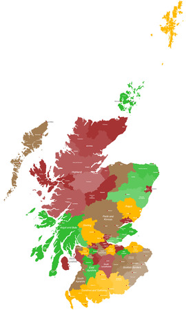 A large and detailed map of Scotland with all areas counties and cities. Vettoriali