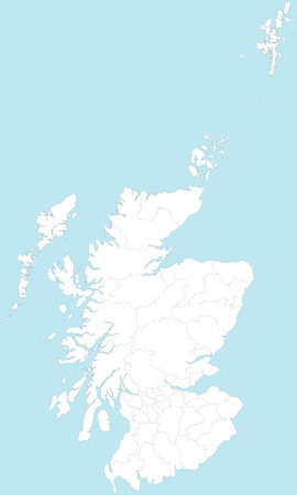 areas: A large and detailed map of Scotland with all areas and counties.
