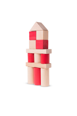 cylinder block: A large tower made out of wooden bricks Stock Photo