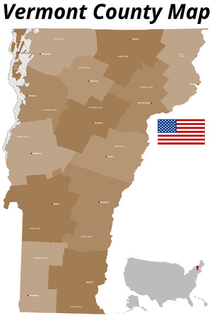 Large and detailed map of the State of Vermont Vettoriali