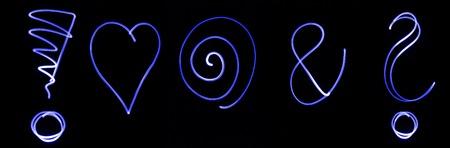 interrogation mark: Different flourescent symbols in blue neon color