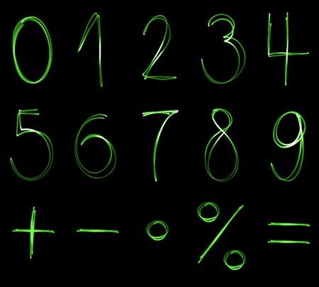 simbolos matematicos: Diferentes números fluorescentes y los símbolos matemáticos en el color verde de neón