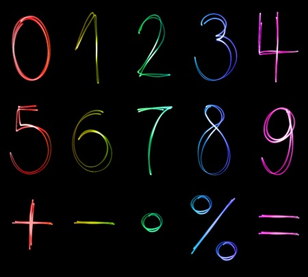 simbolos matematicos: Different flourescent numbers and math symbols in different neon colors