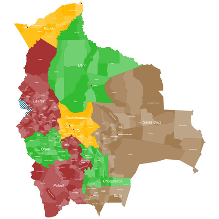 A large and detailed map of Bolivia with all departments, provinces and main cities. Ilustração
